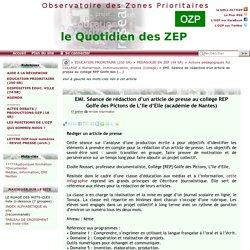 EMI. Séance de rédaction d'un article de presse au collège REP Golfe des(...)