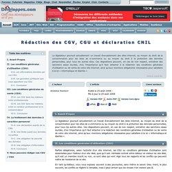 Rédaction des CGV, CGU et déclaration CNIL