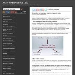 Rédaction de business plan, 4 erreurs à éviter
