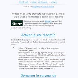 Rédaction de votre première appli Django, partie 2 : Exploration de l'interface d'admin auto-générée, dans django, traduction, web frameworks sur BioloGeek
