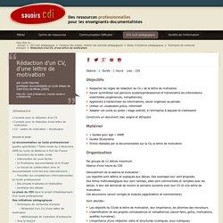 Savoirs CDI: Rédaction d'un CV, d'une lettre de motivation