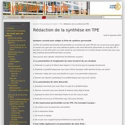 Rédaction de la synthèse en TPE - Lycée Louis de Broglie, Marly le Roi