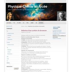 Rédaction d'une synthèse de documents - Physique-Chimie au lycée