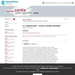 La «rédaction web»: normes, contextes, textualités