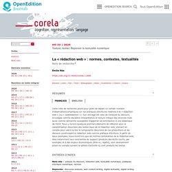 Etude sur la rédaction web - La «rédaction web»: normes, contextes, textualités