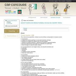 QCM et exercices rédactionnels (école du CEERRF, Paris)