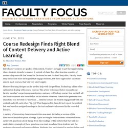 Course Redesign Finds Right Blend of Content Delivery and Active Learning