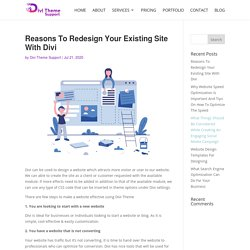 Reasons To Redesign Your Existing Site With Divi