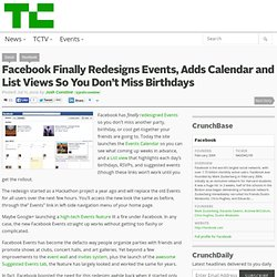 Facebook Finally Redesigns Events, Adds Calendar and List Views So You Don't Miss Birthdays