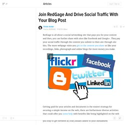 Join RedGage And Drive Social Traffic With Your Blog Post