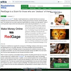 "RedGage is a Scam for those who are ""Jealous"" of them! - Readablelists Wikia"