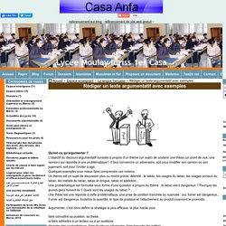 Rédiger un texte argumentatif avec exemples - Lycée Moulay Idriss 1er Casa