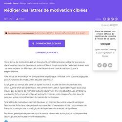 Rédiger des lettres de motivation ciblées