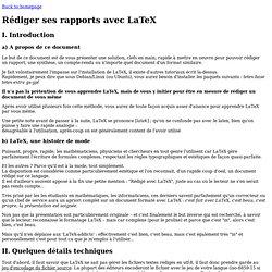 Rédiger un rapport rapidement avec LaTeX