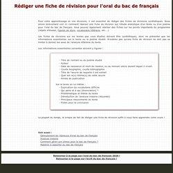 Rédiger une fiche de révision pour l'oral du bac de français
