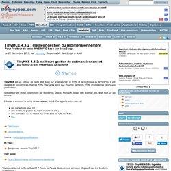 TinyMCE 4.3.2 : meilleur gestion du redimensionnement pour l'éditeur de texte WYSIWYG basé sur JavaScript
