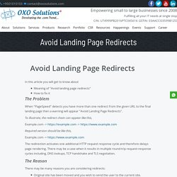 Why Avoid Landing Page Redirect? How to Optimize Redirects? – OXO Solutions®