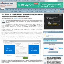 WordPress infecté, les visiteurs redirigés vers des pages d'escroquerie au faux support technique
