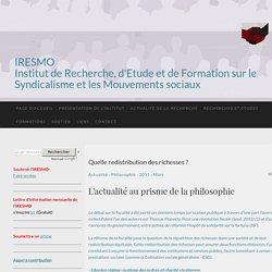 Quelle redistribution des richesses ? - IRESMO- Recherche et formation sur les mouvements sociaux
