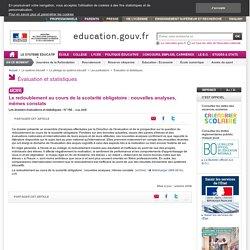 Le redoublement au cours de la scolarité obligatoire : nouvelles analyses, mêmes constats