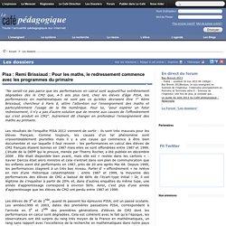 Pisa : Remi Brissiaud : A bas la frise numérique?