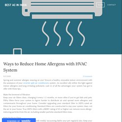 Ways to Reduce Home Allergens with HVAC System - BEST AC IN INDIA