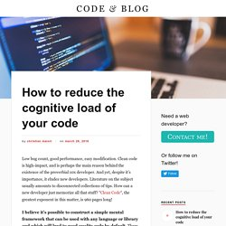 How to reduce the cognitive load of your code – CODE & BLOG
