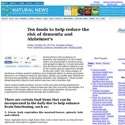 Ten foods to help reduce the risk of dementia and Alzheimer's