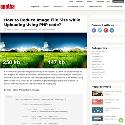 How to Reduce Image File Size while Uploading Using PHP code?