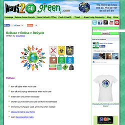 Reduce, Reuse, Recycle - Ways2GoGreen.com