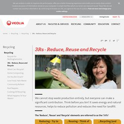 3Rs - Reduce, Reuse and Recycle