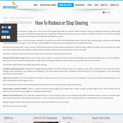 Get to Know About How to Reduce Snoring