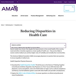 Reducing Disparities in Health Care