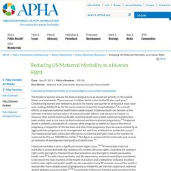 Reducing US Maternal Mortality as a Human Right