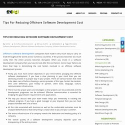 Tips For Reducing Offshore Software Development Cost – GOIGI Blog