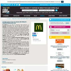 Codes promo et bons de reduction MC DONALD'S - Réduction Reducavenue.com