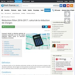 Réduction Fillon 2016-2017 : calcul de la réduction de charges