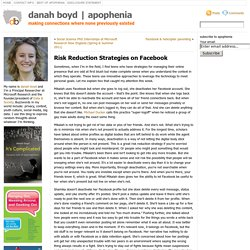 Risk Reduction Strategies on Facebook