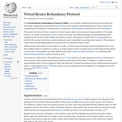 Virtual Router Redundancy Protocol