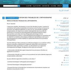 RÉÉDUCATION DES TROUBLES DE L'ORTHOGRAPHE