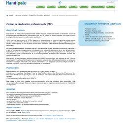Centres de rééducation professionnelle (CRP)