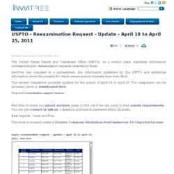 USPTO - Reexamination Request - Update - April 18 to April 25, 2011