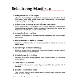 Refactoring Manifesto - Because the world needs better code