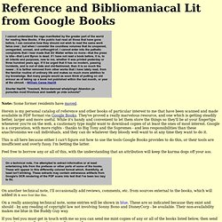 Reference and Bibliomaniacal Lit from Google Books