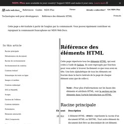 Référence des éléments HTML - HTML (HyperText Markup Language)