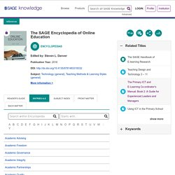 SAGE Reference - The SAGE Encyclopedia of Online Education