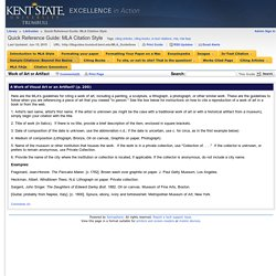 Work of Art or Artifact - Quick Reference Guide: MLA Citation Style - LibGuides at Kent State University at Trumbull