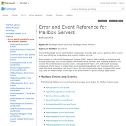 Error and Event Reference for Mailbox Servers: Exchange 2010 Help