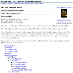 GNU Bash Reference Manual - Table of Contents