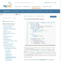 14.2.6 LOAD DATA INFILE Syntax